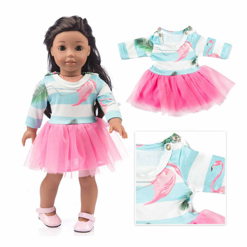 Pink Doll Tutu Dress For 18 inch Girls Dolls Clothes Princess Dress Toys  For 43 cm Babies Born Dolls Accessories