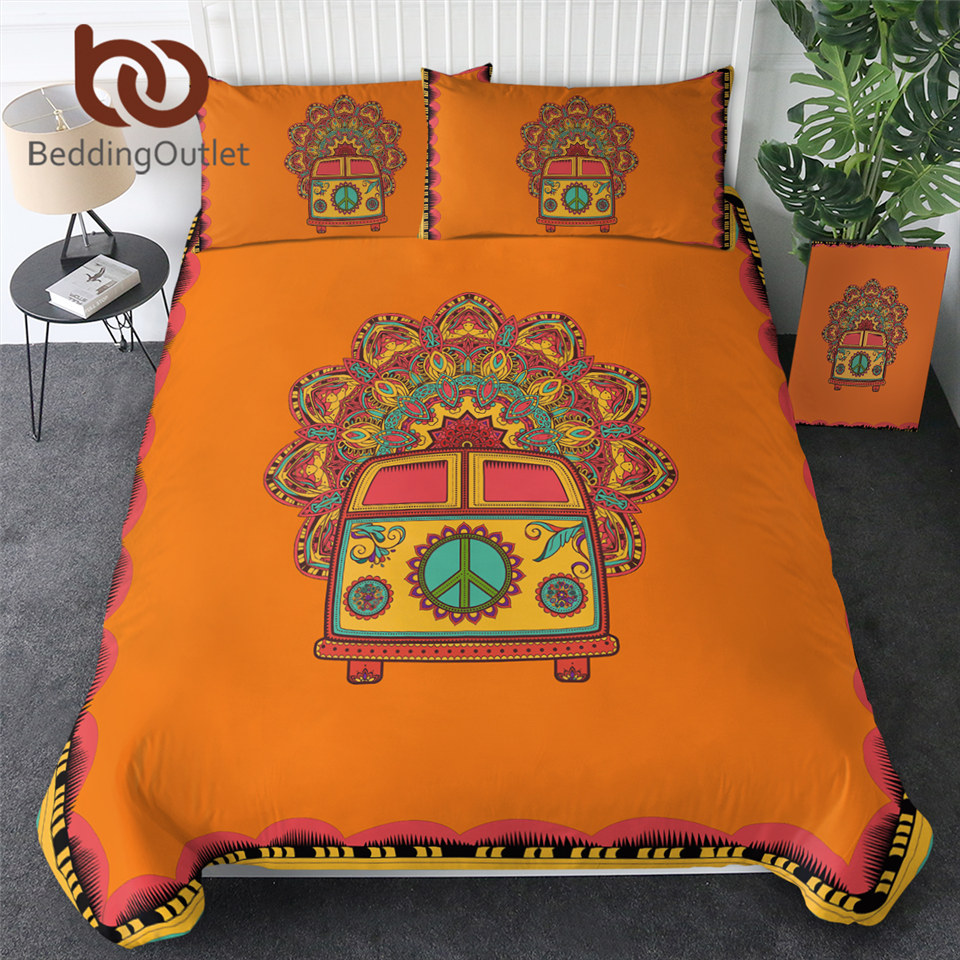 Beddingoutlet Hippie Vintage Auto Bettwäsche Set Orange Mandala Quilt Abdeckung Frieden Design Bett Set Böhmischen Eine Mini Van Bettwäsche 3pcs Cars Bedding Sets Bed Setbed Set Design Aliexpress