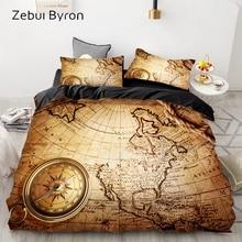 Juego de cama de lujo King/Europa/Queen/personalizado, juego de edredón 3D, juego de edredón/Manta, ropa de cama, juego de cama de mapa vintage