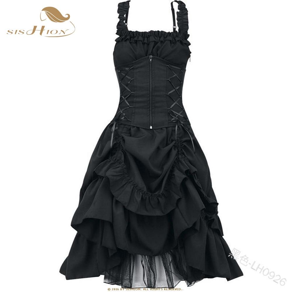 SISHION Plus Size Women Gothic Dress VD1247 Tunic Slim Elegant Black Dress