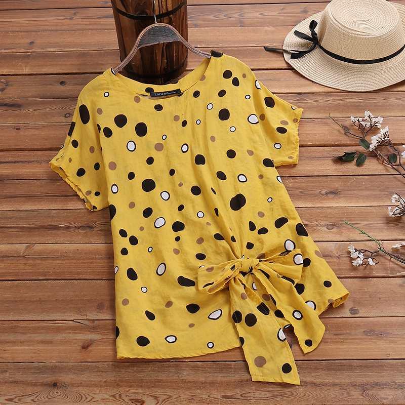 Women's Irregular Blouse 2020 ZANZEA Vintage Printed Tee Shirt Polka Dot Sleeve Blusa Female Summer Casual Tunic Plus Size