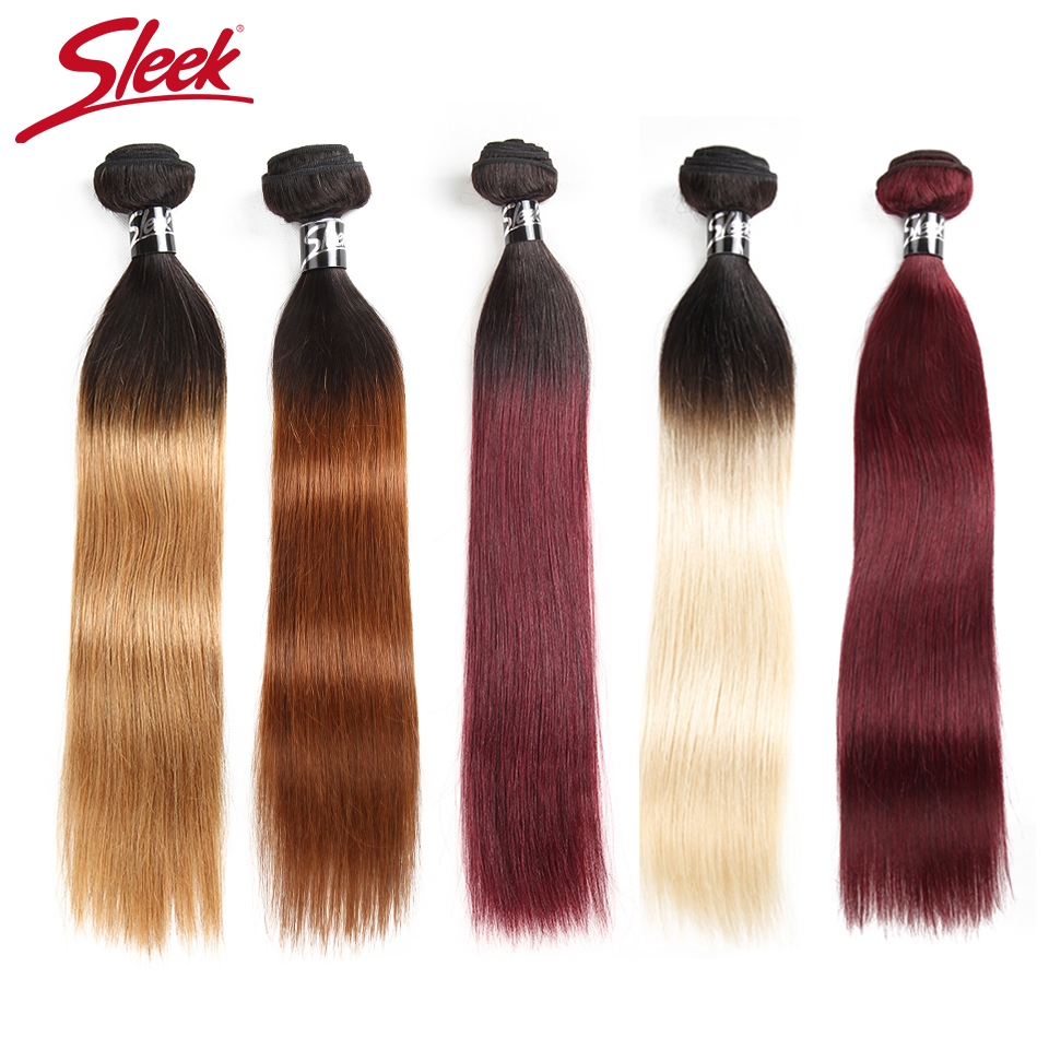 Sleek Ombre Brazilian Hair Straight 1B/30 1B/27 1B/99J Human Hair Weave Bundles Deal Two Tone Remy Hair 1 Piece Weft Extensions