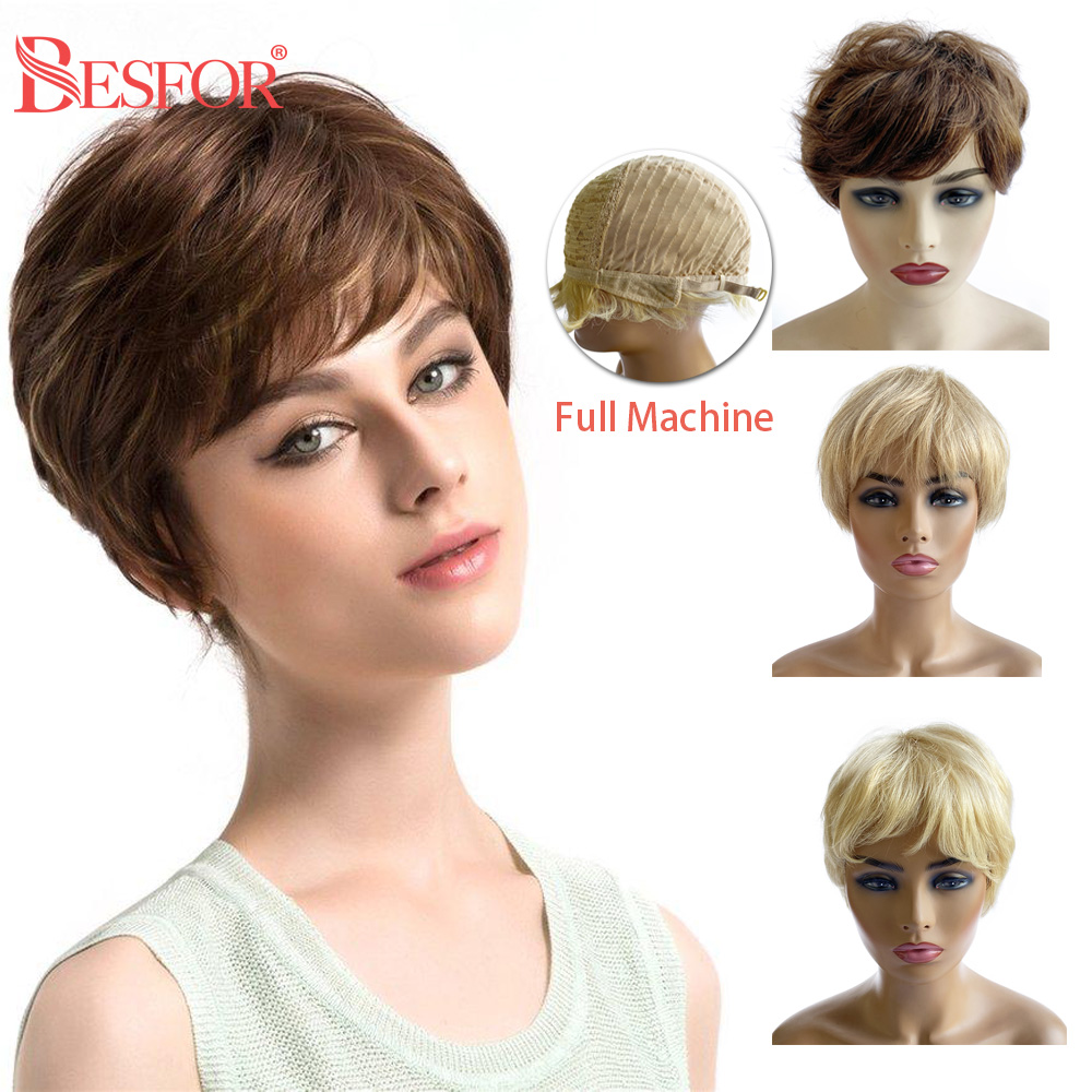 BESFOR Pixie Cut Short Wig Cheap Full Machine Blonde Human Hair Wigs Lovely Pre Plucked Glueless Remy Hair For Black Women