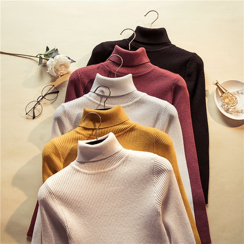 Autumn Winter Turtleneck Knitted Women Sweeter And Pullovers Slim Elastic Black White Pink Sweeter Gray Full Sleeves Solid Color
