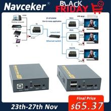 Sieć IP USB 2.0 KVM Extender z sterowanie IR 1080P HDMI przez LAN KVM Extender 120m HDMI KVM Extensor przez RJ45 Cat5 Cat5e Cat6