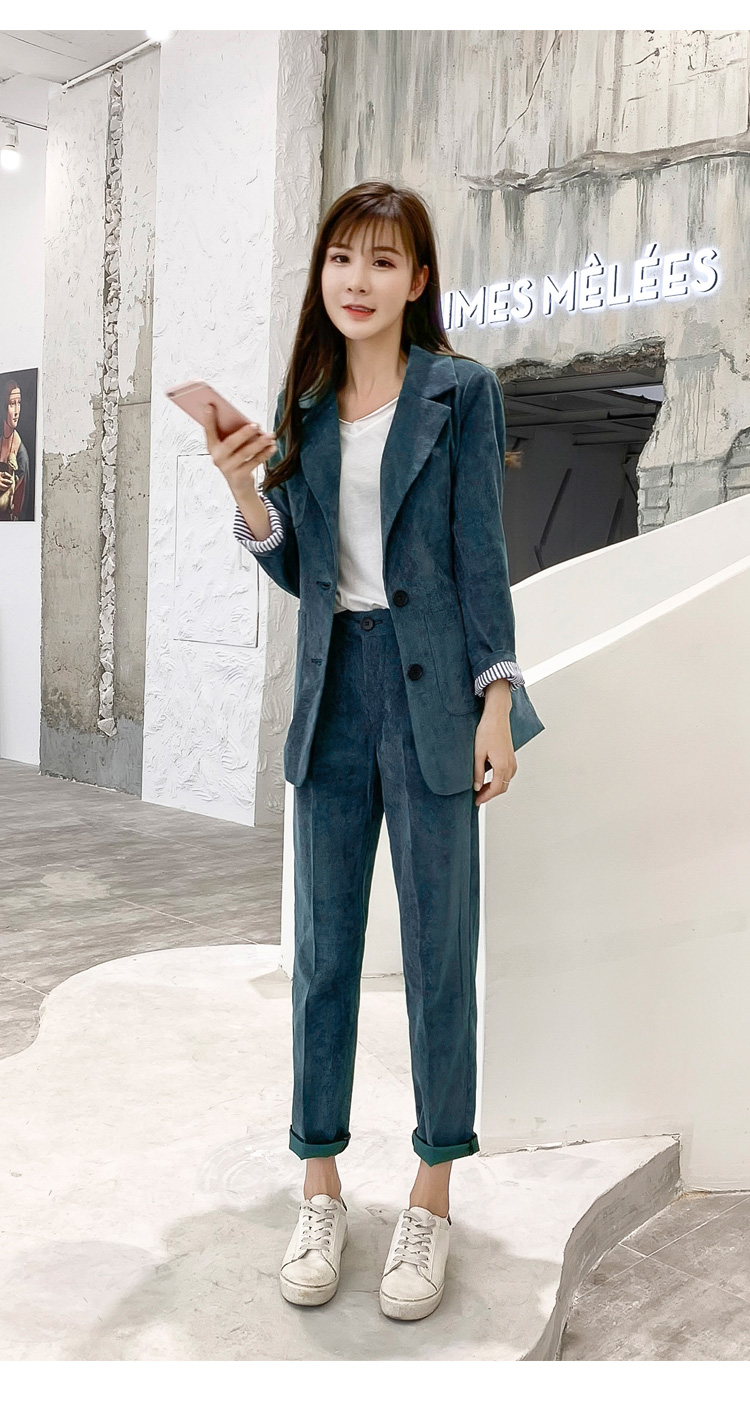 Autumn Winter Blazer Pants Suit Women Korean Chic Fashion Office Ladies Green Corduroy Casual High Waist Small Feet Pants Suit 61