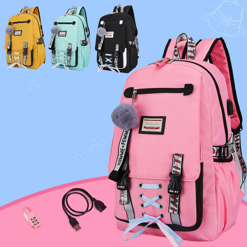 USB Charging Women Backpack Anti Theft Pink Laptop Travel School Bags For Teenage Girls Cute Black Bow Ribbon