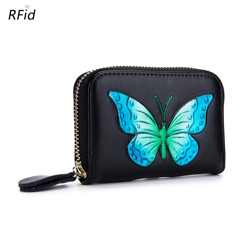 New Mini Genuine Leather Wallet with 3D Butterfly Printing Women Cowhide Clutch Bag with RIFD Card Holders Female Coin Purse