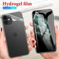 Película protectora frontal y trasera de hidrogel para iPhone, Protector de pantalla frontal y trasera para iPhone 11 11Pro XS Max XR XS X 10 7 8 6 6s Plus SE 2020