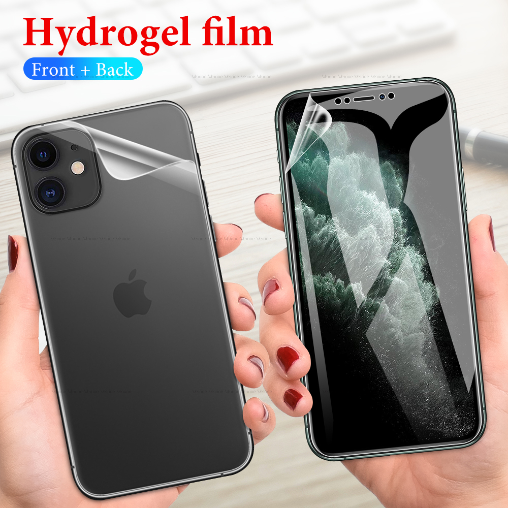 Front+Back Protective Hydrogel Film On The For IPhone 11 11Pro XS Max XR XS X 10 7 8 6 6s Plus Front Screen Protector Rear Film