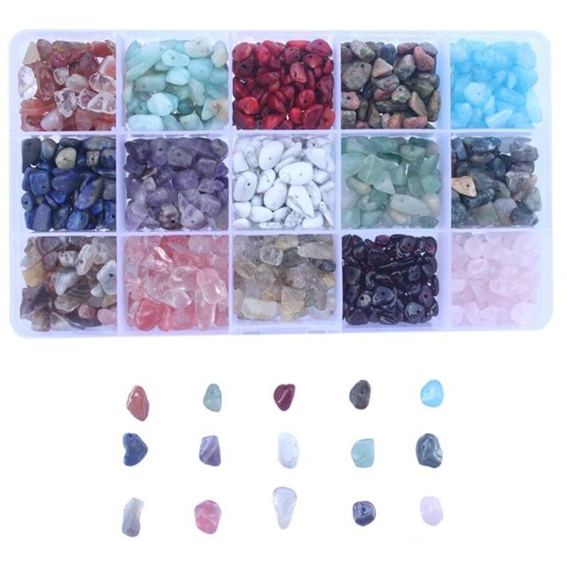 15 Color Assorted Gemstone Beads Irregular Shaped Natural Chips Kits for DIY Craft Bracelets Necklaces Pendant Jewelry Making