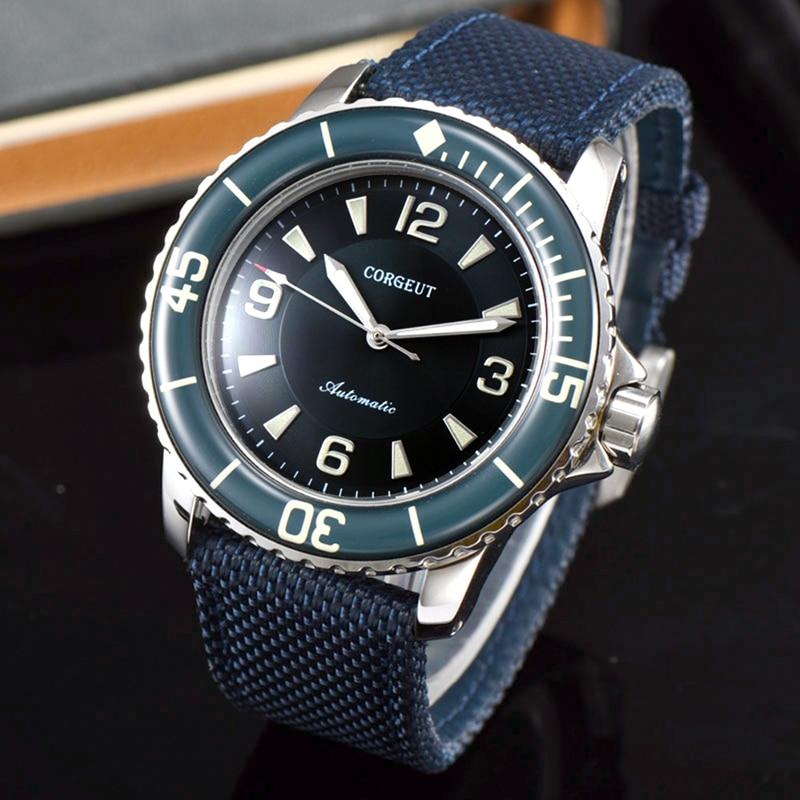 Saatler'ten Mekanik Saatler'de CORGEUT Lüks Top Marka Spor İzle Erkekler Mekanik Işıltılı Otomatik Kendini Rüzgar Vintage Bilek Saati 45MM mavi siyah'da  Grup 1