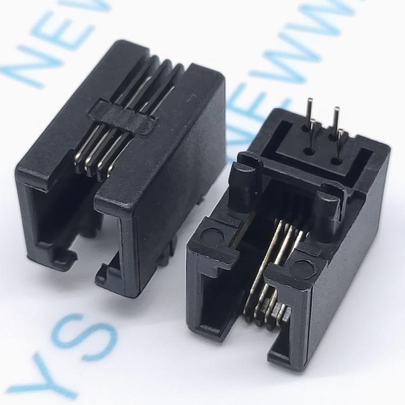 10PCS/Lot RJ11 Socket RJ12 Telephone 90 Degrees 4pin Crystal Female RJ95001-4P4C Socket