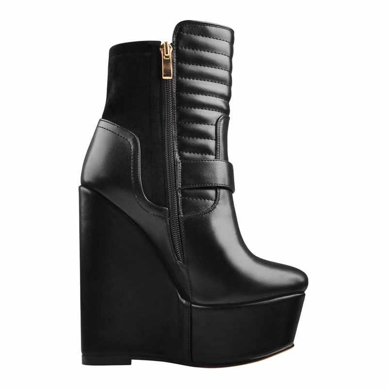 Onlymaker kadın kama 16CM yüksek topuklu ayak bileği çizmeler yumuşak deri parti elbise bayan fermuar çizmeler artı boyutu kış için