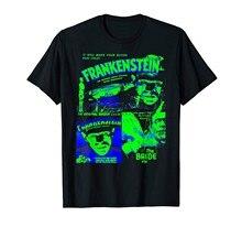 Camisa de filme de terror do vintage da colagem colorida de frankenstein (1)