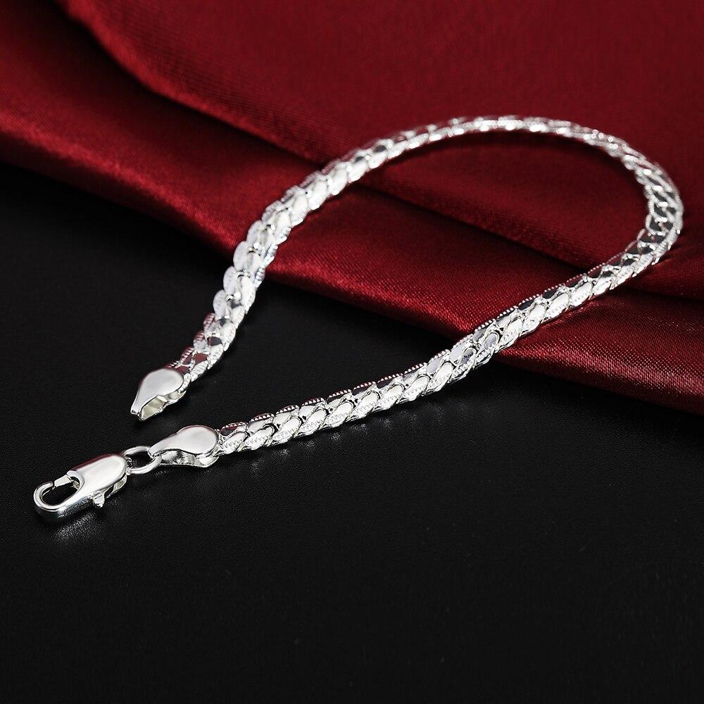 925 Sterling Silver Men Bracelet For Women Fine Jewelry 5MM 20cm Snake Flat Male Chain Bracelet Armband/pulsera For Men Homme