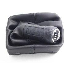 Botões de mudança de engrenagem de couro gaitor botão plástico 5 velocidade 6 botão de engrenagem com capa de bota de couro do plutônio para volkswagen polo