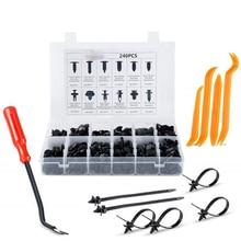 240Pcs/set Car Auto Push Pin Rivet Trim Durable Fit Plastic Bumpers Interior Panel Fascia General Accessories