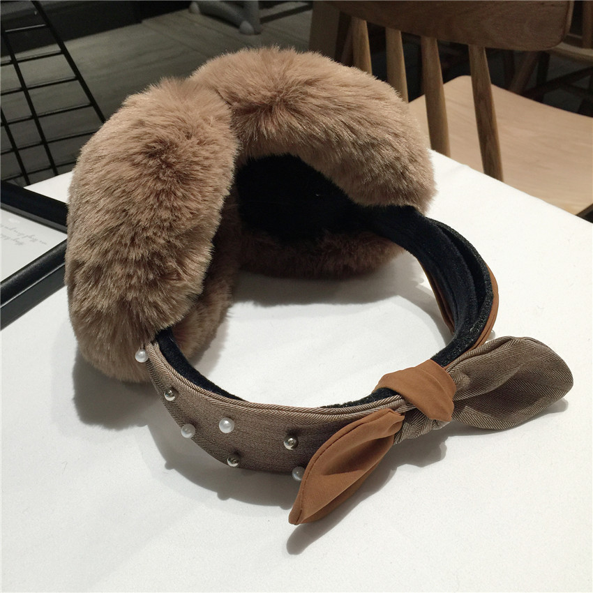 Ladies Girls Earmuffs Cute Bowknot Furry Ear Muffs Comfy Soft Outdoor Winter Warm Women Woolen Earmuffs