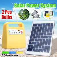 Solar Power Panel Generator Kit USB Home Charger System + MP3 Radio +2 LED Bulbs Light for Outdoor Emergency Charging Lighting