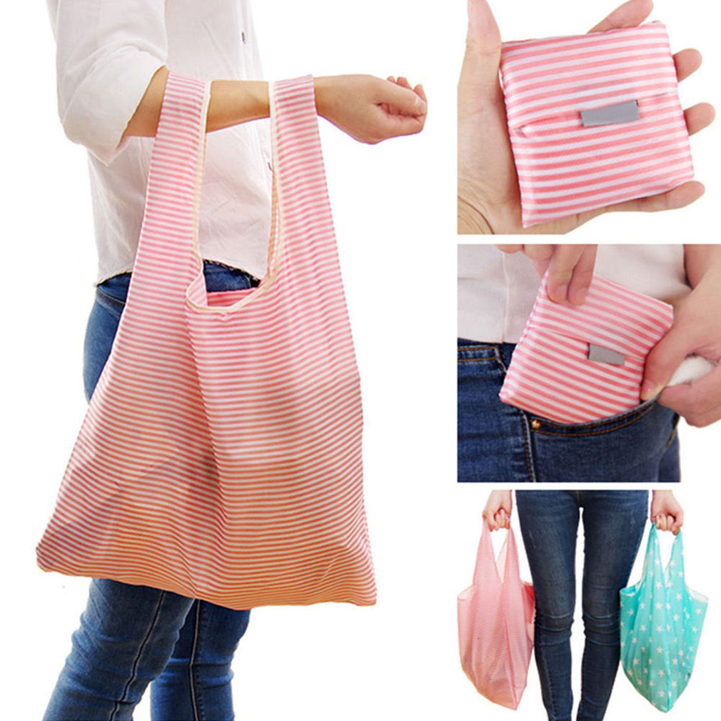 New 2019 Foldable Convenient Cute Lady Foldable Recycle Bag Eco Reusable Shopping Bag Fruit Vegetable Grocery Large Capacity