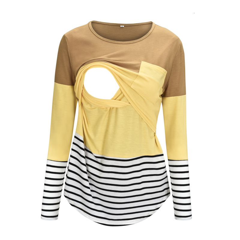 2019 Stripe Split Joint Long Sleeve Lactation Maternity Winter Dress Pity Breastfeeding Nursing Top Clothes Breast Feeding Dress