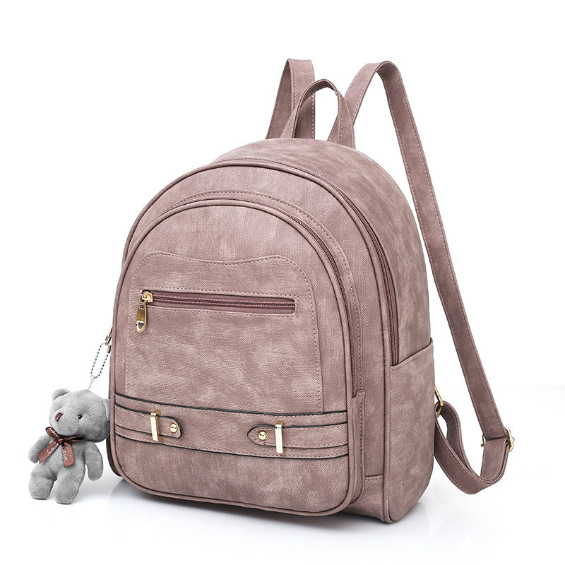 HANSOMFY solid pu leather backpack women bag large school back pack female Bagpack Ladies back bag youth College Wind 2019 CY 98