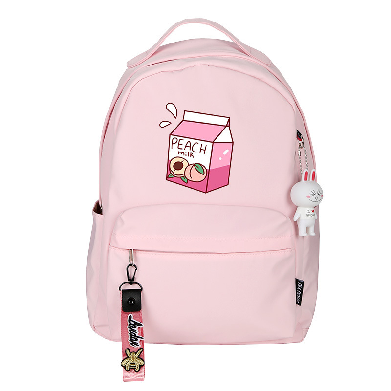 Peach Milk Women Cute Backpack Pink Bookbag Mochila Mini Bagpack Cartoon Travel Backpack Nylon School Bags For Teenage Girls