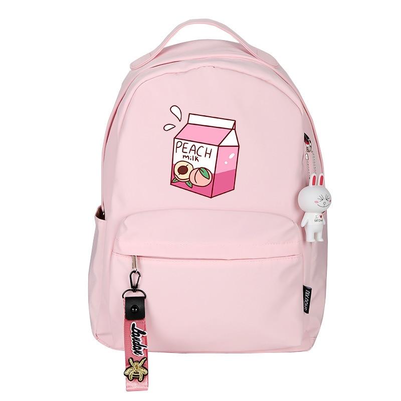 Peach Milk Women Cute Backpack Pink Bookbag Mochila Mini Bagpack Cartoon Travel Backpack Nylon School Bags For Teenage Girls