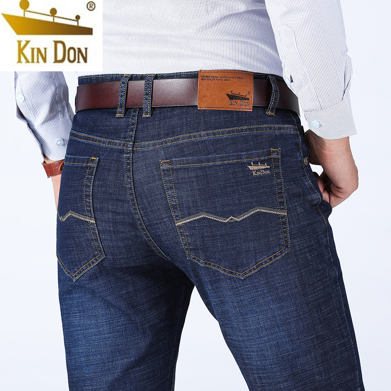 2019kin Don/kin Don Summer Thin Section Business Straight-Cut Loose-Fit Jeans Men Cotton Elastic Casual Pants