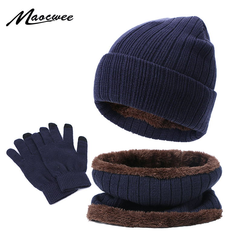 Knitting 3 Pieces Winter Women Men's Hat Scarf&Gloves Set Warm Thicken Winter Plus Velvet Warm Hat Scarf Touch Screen Gloves