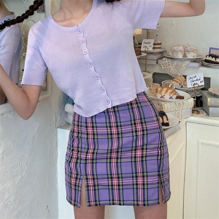 H59f368384582482c97a870dd2c8607afX - Korean Colored Plaid Skirt Women Student Chic Short Skirts Fashion Sexy Mini Skirts Spring Summer Female Skirts