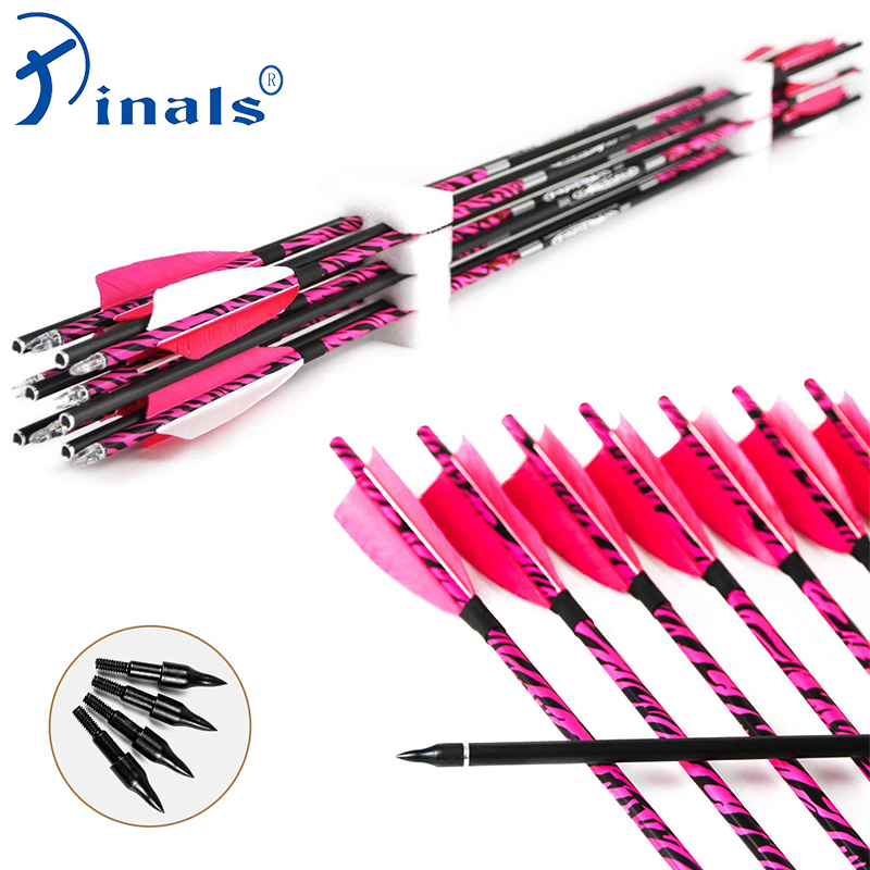 Inals Pink Camo Archery Carbon Arrows Spine 300 340 400 500 600 Turkey Vanes Compound Recurve Bow Hunting Shooting Archery