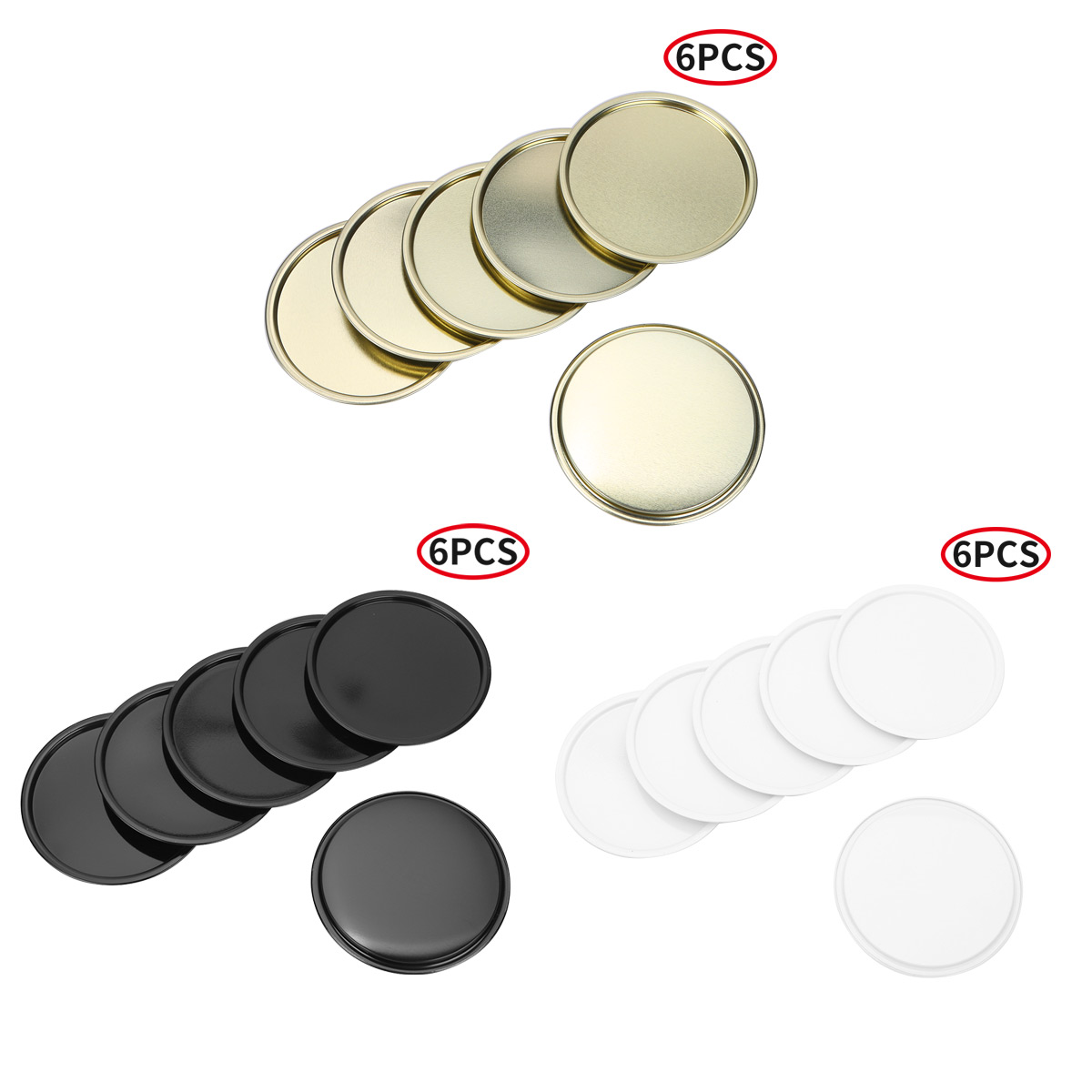 6Pcs Candle Holder Plates for Romence Dinner Night Wedding Spa Home Party Decor Round Marson Jar Lids Metal Candle Holder Plates