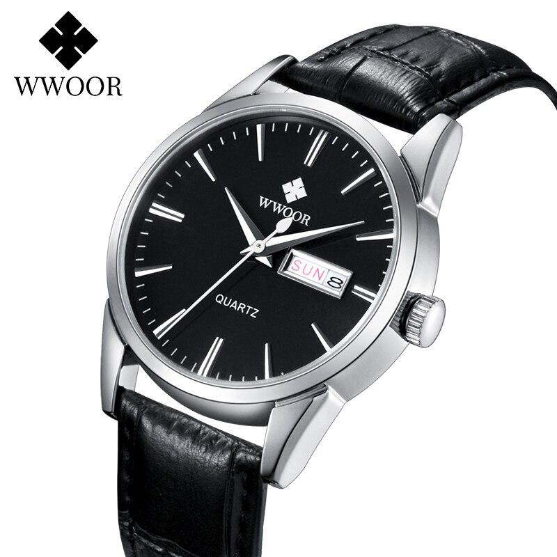 WWOOR Watches For Men 2020 Fashion Brand Luxury Black Leather Waterproof Watch Mens Classic Business Quartz Calendar Week Clock