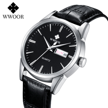 WWOOR Watches For Men 2020 Fashion Brand Luxury Black Leather Waterproof Watch Mens Classic Business Quartz Calendar Week Clock цена 2017