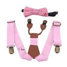 Soild Color Children Belt Bowtie Set Baby Boys Girls Suspenders Clip-on Y-Back Braces Bow Tie Elastic Kids Adjustable