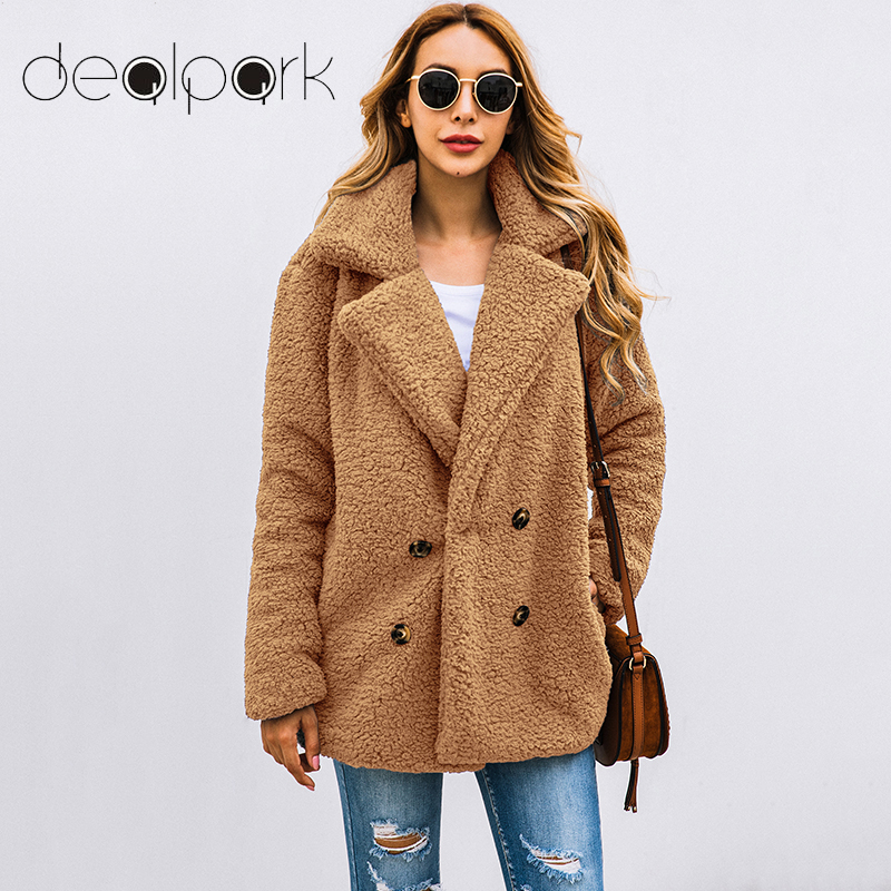 Women Faux Fur Coat Teddy Bear Jacket Female Plush Fur Fake Coat Notch Lapels Oversized Winter Coat Plush Jacket Big Size 3XL