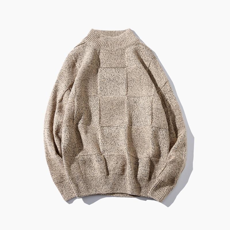 Sweater Men's Fashion Half Turtleneck Slim Sweater Men's Fall Winter Pullover Large Size S-5XL Men's Casual Warm Knit Sweater