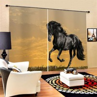 Custom Cute Animals Horse Blackout Curtains Polyester Fabric 2 Panels Window Drapes Decor for Living Room Bedroom