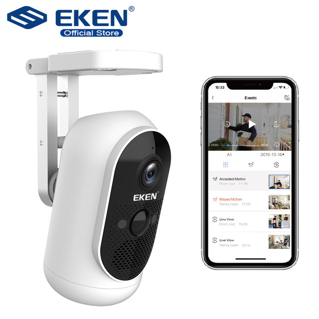 EKEN video camera camcorders 1080P PIR Battery 2.4G wifi Two way audio IP65 6000mah battery home Smart IP Cam
