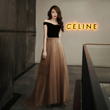 Evenging Dresses Coffee Velour Stitching Ruffles A-line Floo