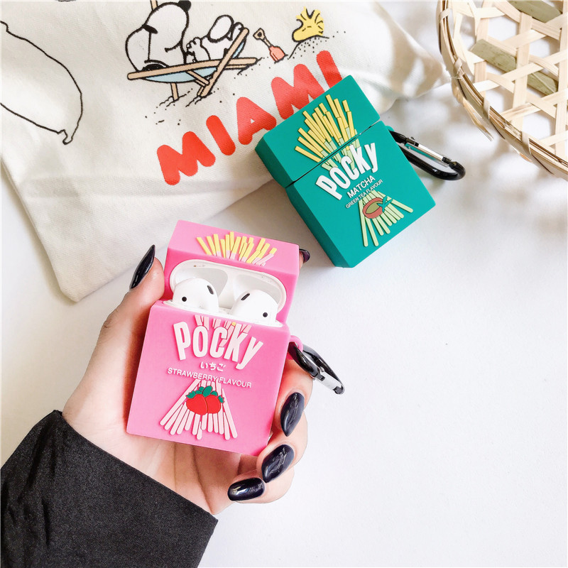 3D Strawberry Glico Pocky Cookies+ring Wireless Bluetooth Headset Silicone Cover For Airpods Earphone Protective Anti-drop Cases