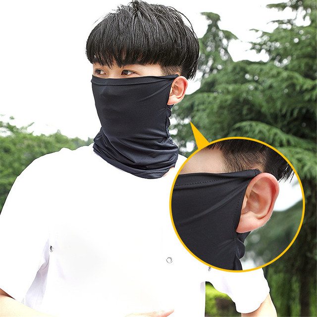 Anging Ear Half Skin Cool Ice Motorcycle Face Mask Summer Breathable UV Protection Sports Headwear Mask Outdoor Riding Face Mask
