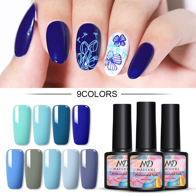 MAD DOLL 8ml Gel Nail Polish Blue Series Color UV Gel Soak Off Gel Polish Varnish One-shot Color Nail Art DIY Design