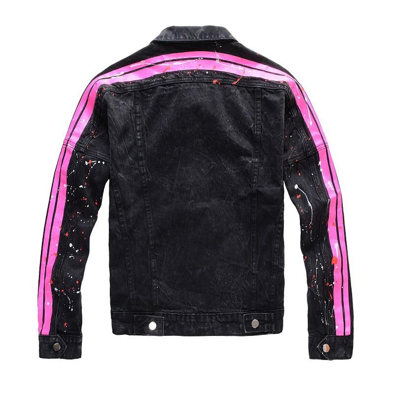 Sokotoo Men's Pink Red Neon Jean Jacket Trendy Streetwear Painted Slim Short Coat Black High Quality