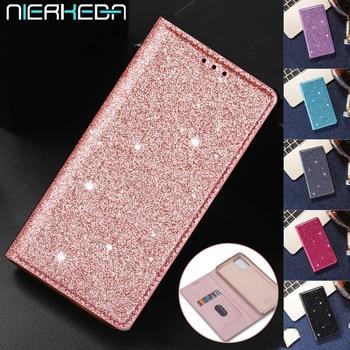 Glitter Leather Magnetic Flip Case for Samsung A10 A20 A30 A40 A50 A70 S A51 A71 A31 A41 A21S S20 Ultra S10 FE S9 S8 Plus Cover 1