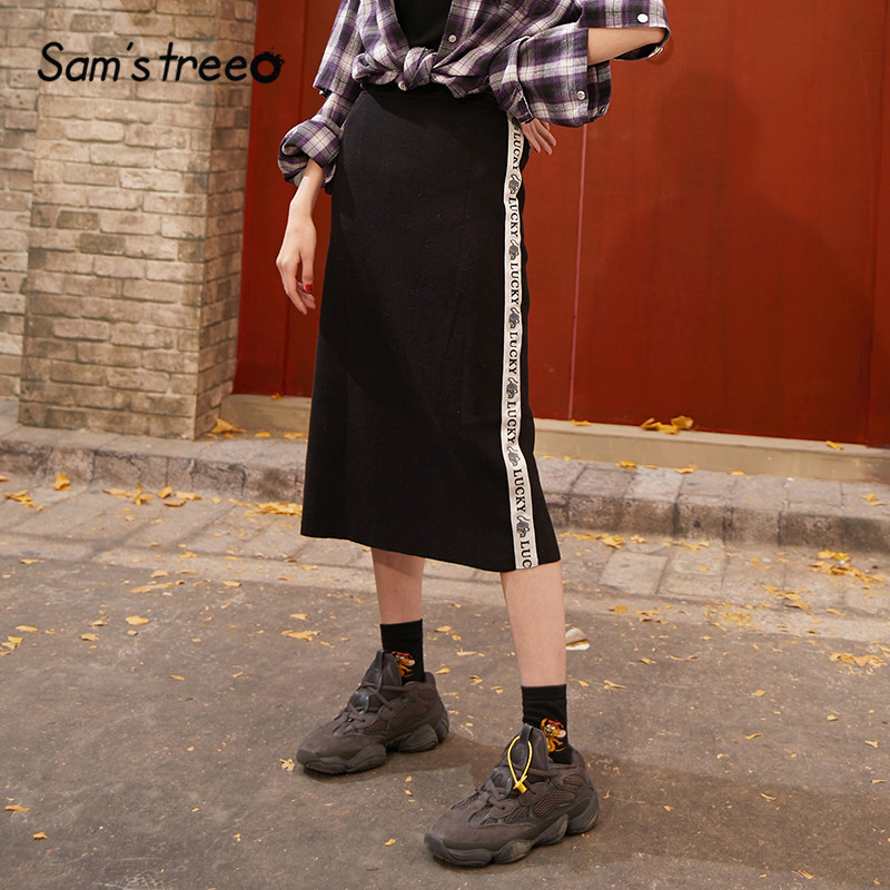 SAM'S TREE Black Solid Letter Print Side A Line Skirts Women 2020 Spring High Waist Casual Knit Office Ladies Basic Daily Skirts