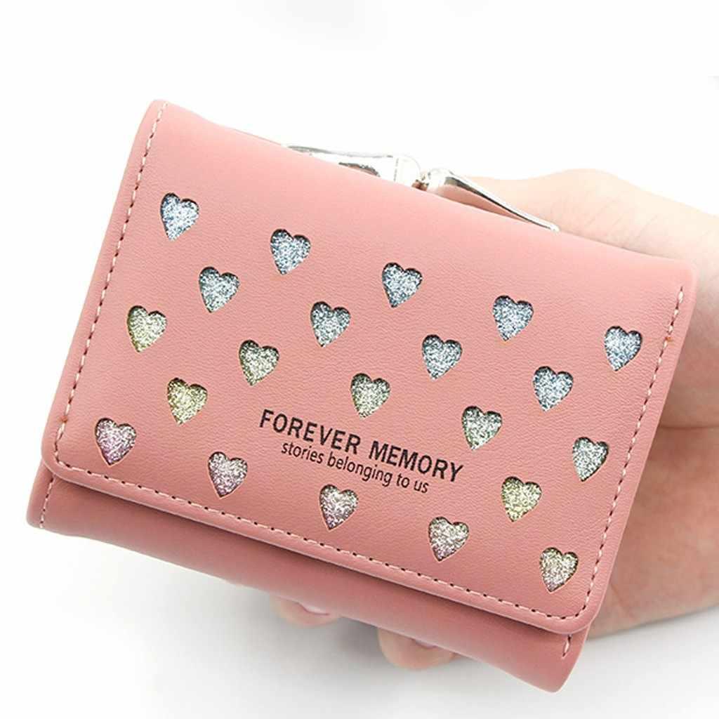 สตรีแฟชั่นกลางแจ้งพิมพ์รักสีทึบหนังกระเป๋าสตางค์ кошелек женский กระเป๋า кошельки MINI walllets ผู้หญิง