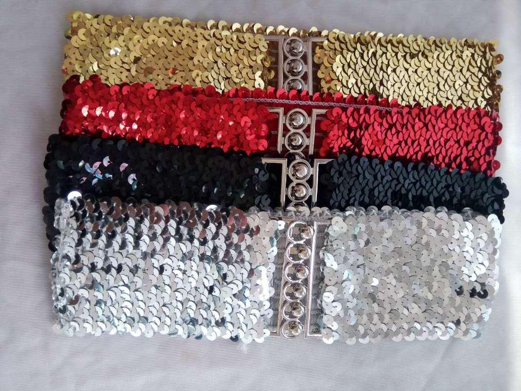 Women Suit Bright Color Belt Fashion Sequin Elastic Waistband Buckle Wide Stretch Belts Casual Corset Strap Belt Dress Decor